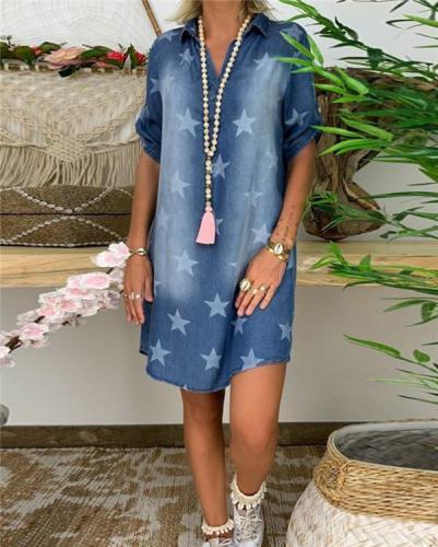 Star Printed Short Sleeve  Denim Skirt Holiday Dresses Shift Daytime Mini Dresss