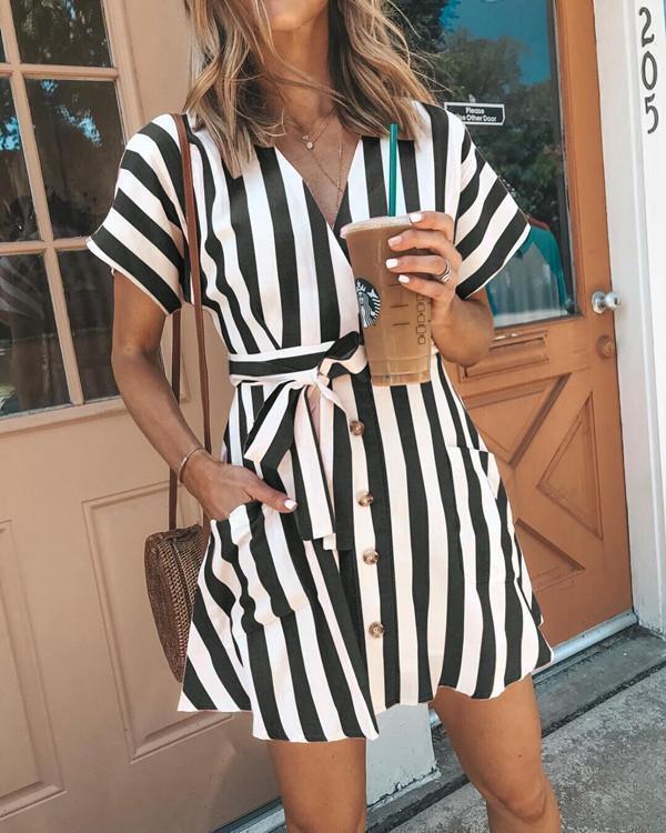 Women's Sexy V Neck Basic Striped Summer Mini Dress