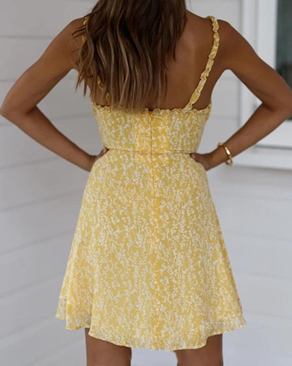 Women's Casual Sling Print Waist Mini Dress