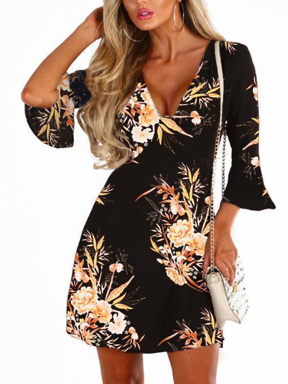 Random Floral Print Crossed Collar Bell Sleeves Dresses with Zip Design