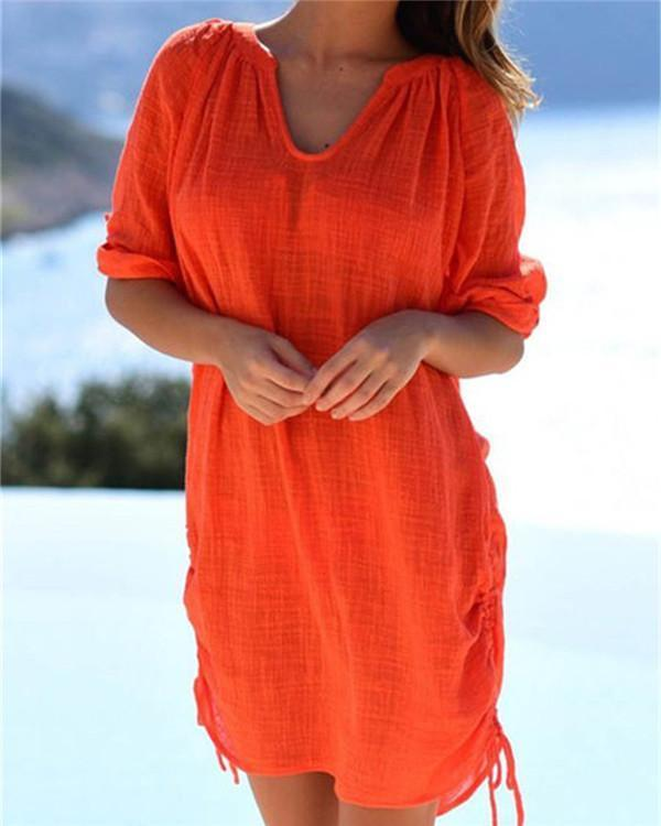 Women's Half Sleeve Cotton Linen V Neck Solid Casual Mini Dress