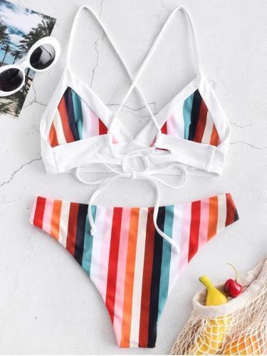 Colorful Striped Criss Cross Bikini Set