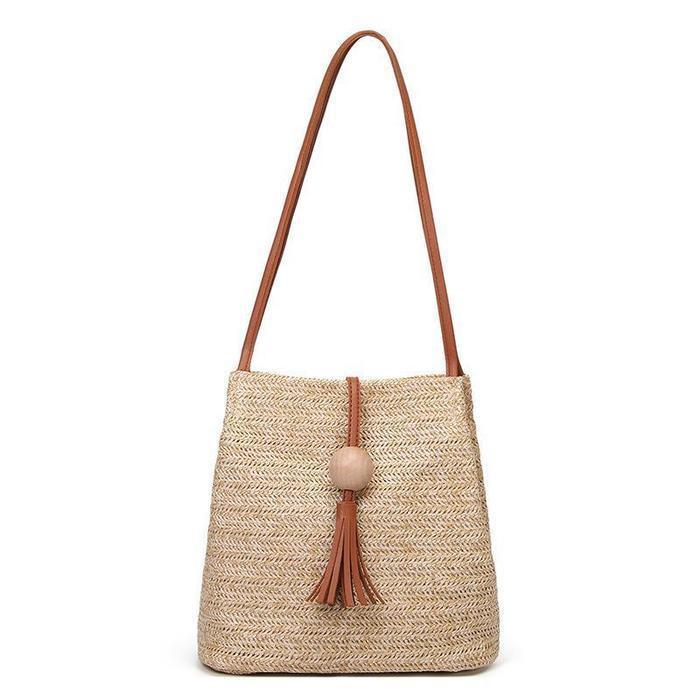 Womens Woven Straw Casual Beach Style Shoulder Tote Bags
