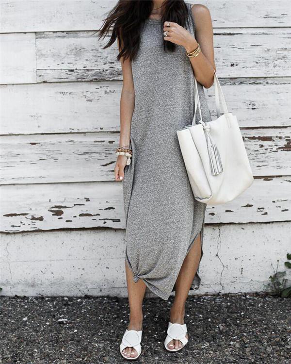 Summer Beach Sleeveless Solid V Neck  Maxi Dress