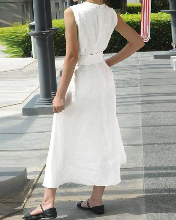Women Casual Sleeveless V-neck Evening Maxi Dress