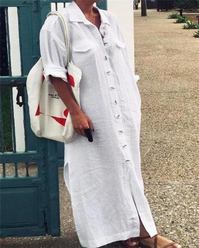 Women Plus Size Solid Stand Collar Button Shirt Maxi Dress