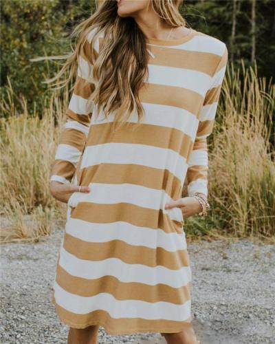Stripe Women Fashion Summer Holiday Mini Dresses