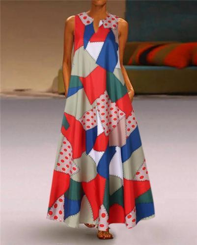 Women V Neck Elegant  Sleeveless Basic Summer Beach Maxi Dress