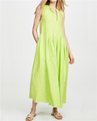 Casual Solid Sleeveless Women Fashion Summer Holiday Maxi Dresses