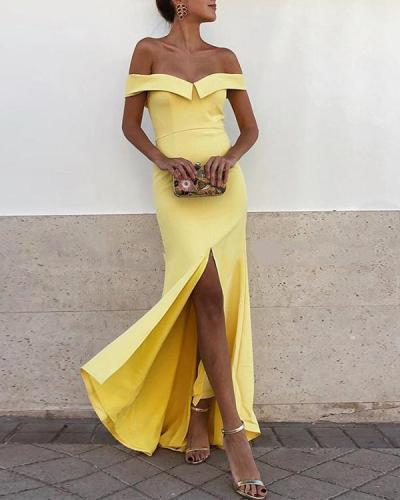 Sexy Off Shoulder Short Sleeved Fishtail Dress