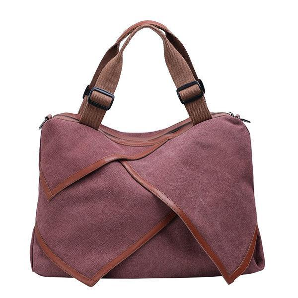 Canvas Large Capacity Handbag Patchwork Leisure Crossbody Bag