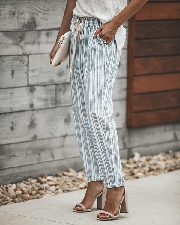 Casual Striped Self-tie Side Pocket Pants