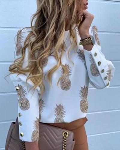 Women Fashion Autumn Printed Tops