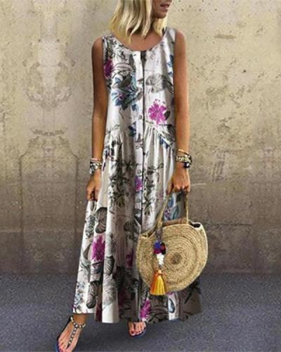 Floral Round Neckline Sleeveless Maxi A-line Dress