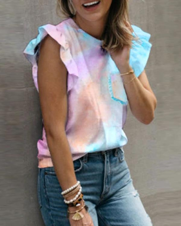 Women Flounce Design Multicolor T-shirt