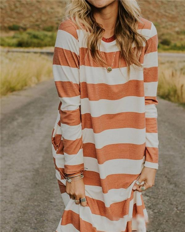 Stripe Women Fashion Summer Holiday Mini Dresses