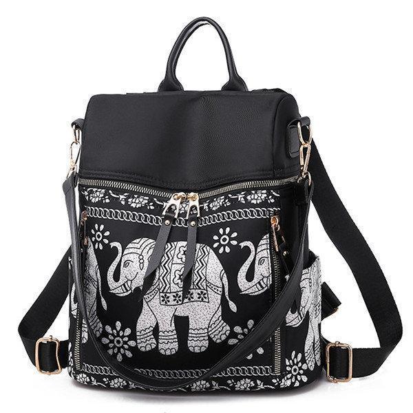 Women National Elephant Backpack PU Leather Shoulder Bag