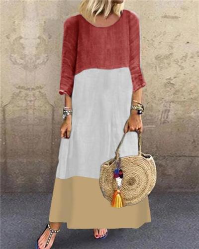 Fashion Printing Long Sleeve Crew Neck Casual Dresses