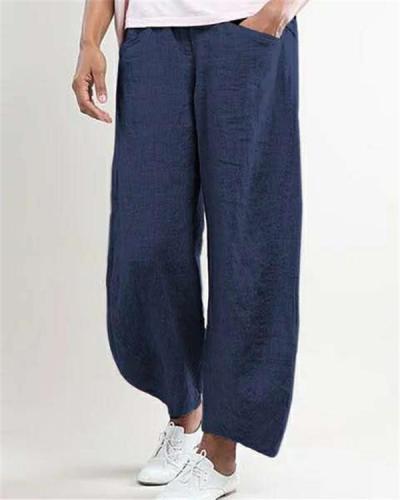 Women Plus Size Casual Wide Leg Shift Cotton Pockets Solid Pants