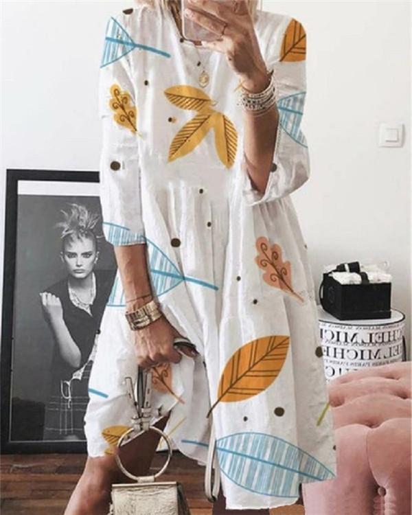 Casual Round Neck Printed Short Sleeve Midi Dress