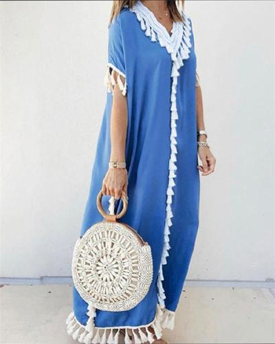 Bohemian Holiday Short Sleeve V Neck Maxi Dress