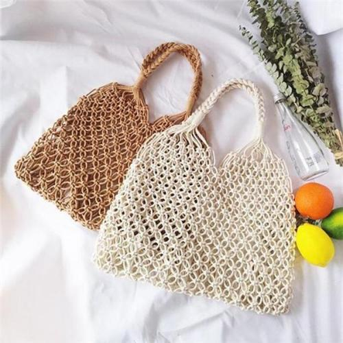 Women Bucket Bag Cotton Rope Net Pocket Beach Bag Swim Storage Bag