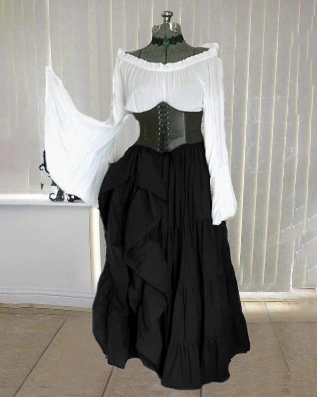 Halloween Ethnic Medieval Off  Shoulder  Vintage Maxi Dress For Women