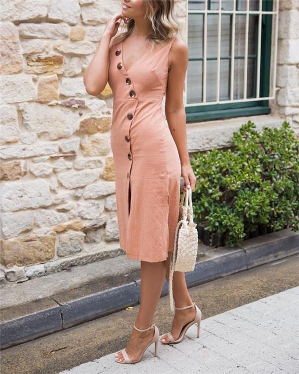 Plus Size Casual Solid Sleeveless V Neck Midi Dress
