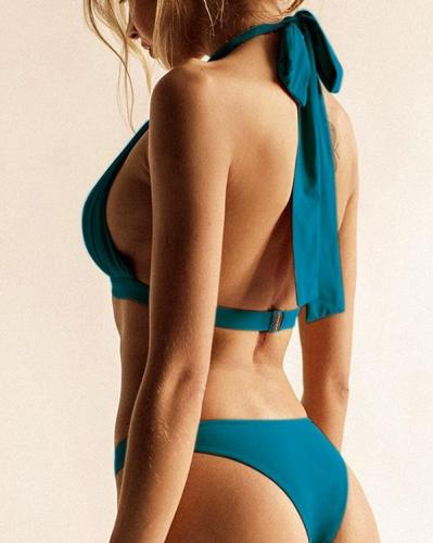 Halter Fold Design Bikini Set