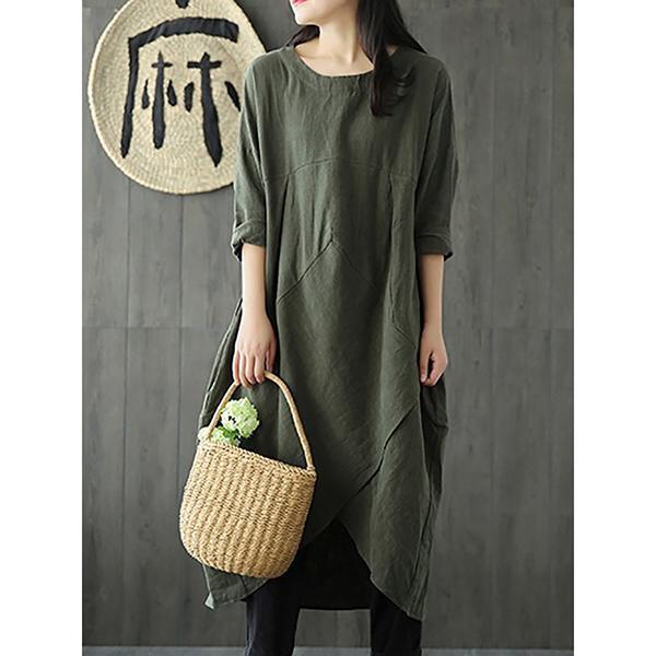 Woman Plus Size Linen-Cotton Dress Vintage Long Sleeve Maxi Dress
