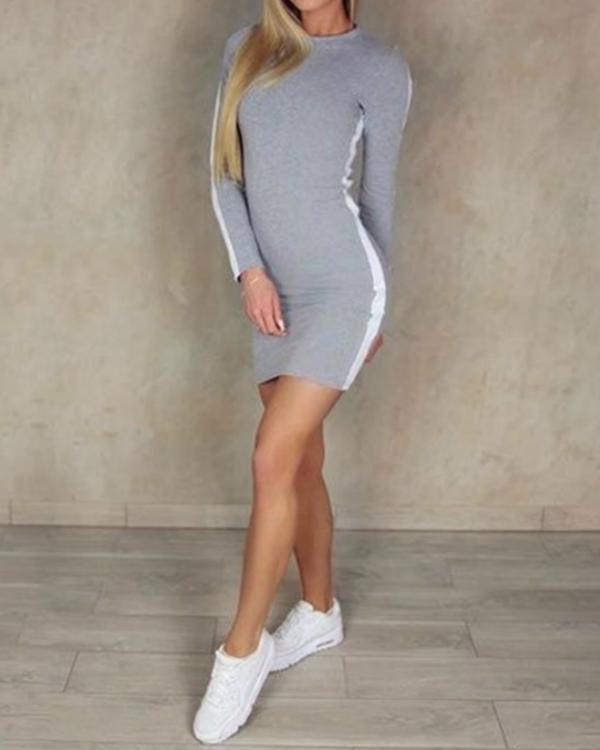 Women's Long Sleeve Side Stripes Sexy Bodycon Dress Slim Fit Mini Dress