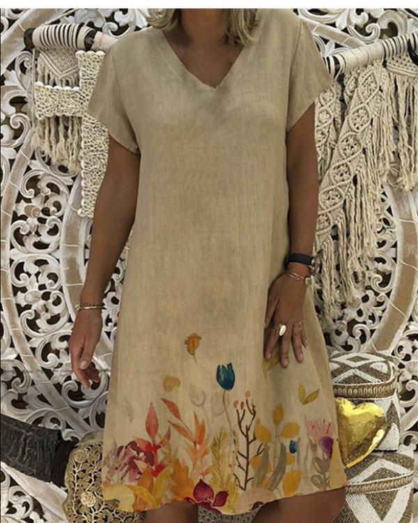 Women V-Neck Short Sleeve Lotus Printed Hem Summer Mini Dress