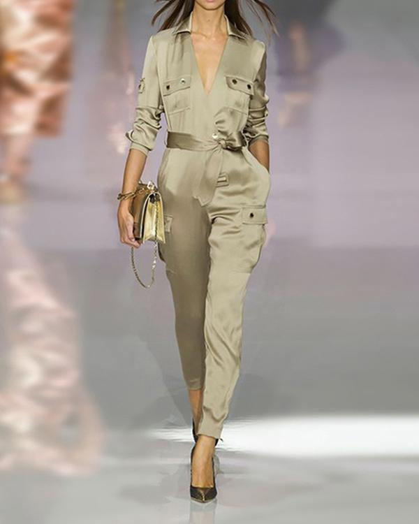 Army Green V Collars Jumpsuit