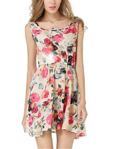 Floral Printed Sleeveless Crew Neck Women Mini Dress