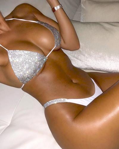 Halter Sequin Low Waist Bikini Set