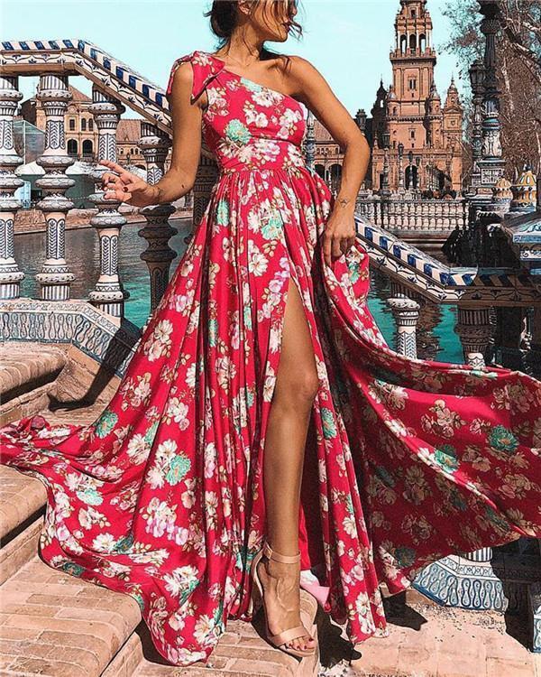 One Shoulder Sleeveless Women Summer Floral Maxi Dress