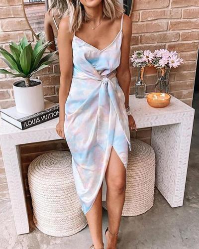 Sexy Sling Irregular Split Tie-dye Lace-up Midi Dresses