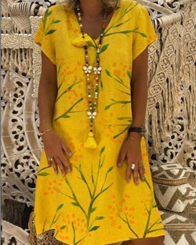 Women  Plus Size Casual Printed Dress