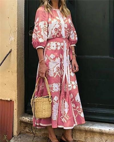 Vintage Round Neck Floral Printed Summer Holiday Daily Fashion Maxi Dresses