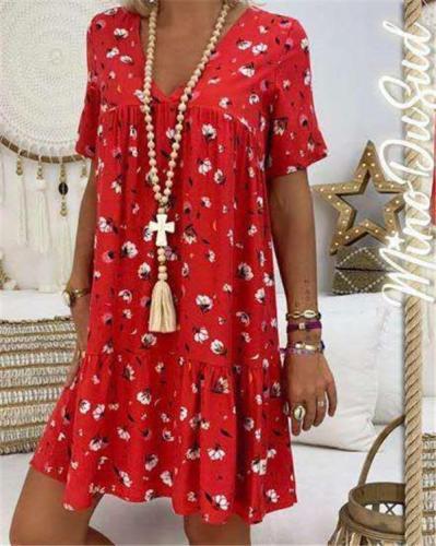 Women Floral Printed Short Sleeve V Neck   Plus Size Mini Dress