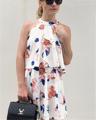Floral Printed Sleeveless Women Mini Dress