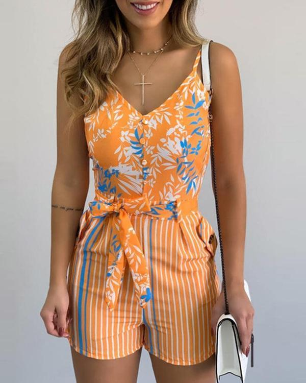 Women Jumpsuit Summer V-neck Floral Print Beach Romper