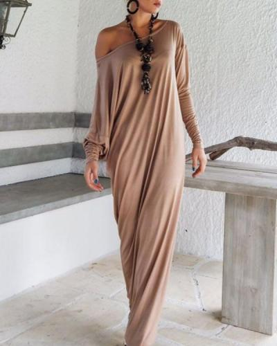 Women Casual Solid Batwing One Shoulder Long Sleeve Maxi Dress