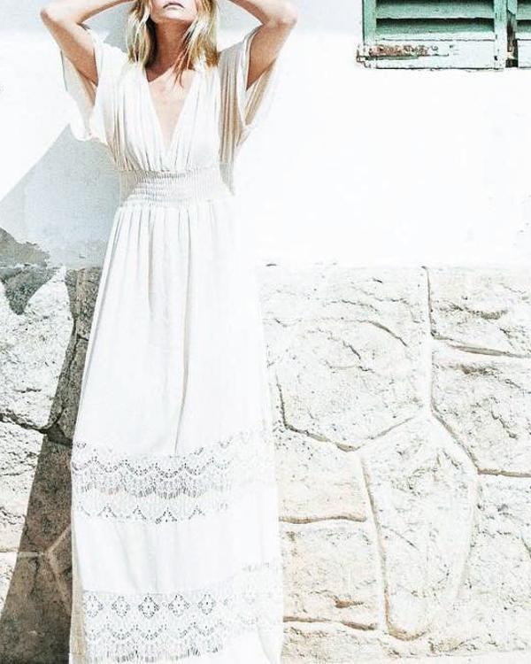 Women Vacation Deep V Neck 3/4 Sleeve Beach Maxi Dresses