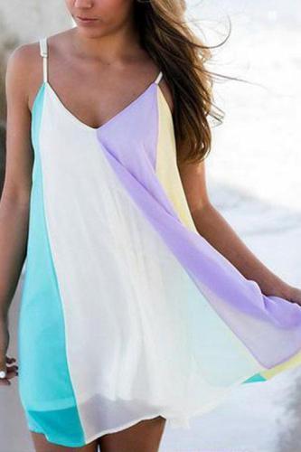 Rainbow Color Chiffon V-neck Sleeveless Mini Dresses