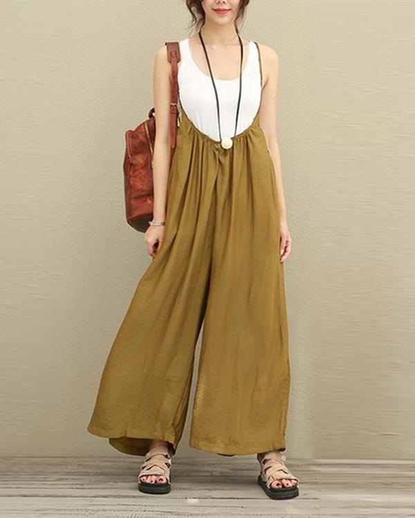 Vintage Strap Pure Color Plus Size Jumpsuits