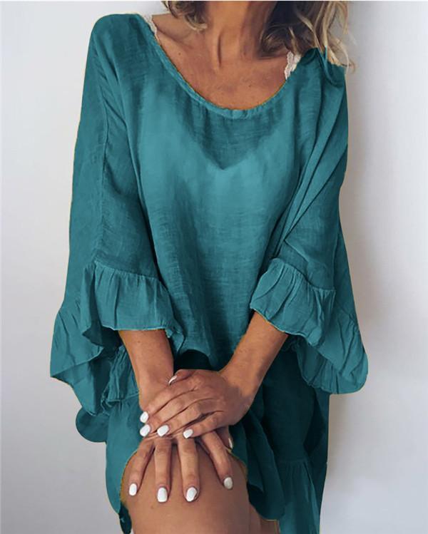 Plus Size Solid Short Sleeve Crew Neck Mini Shirt Dress