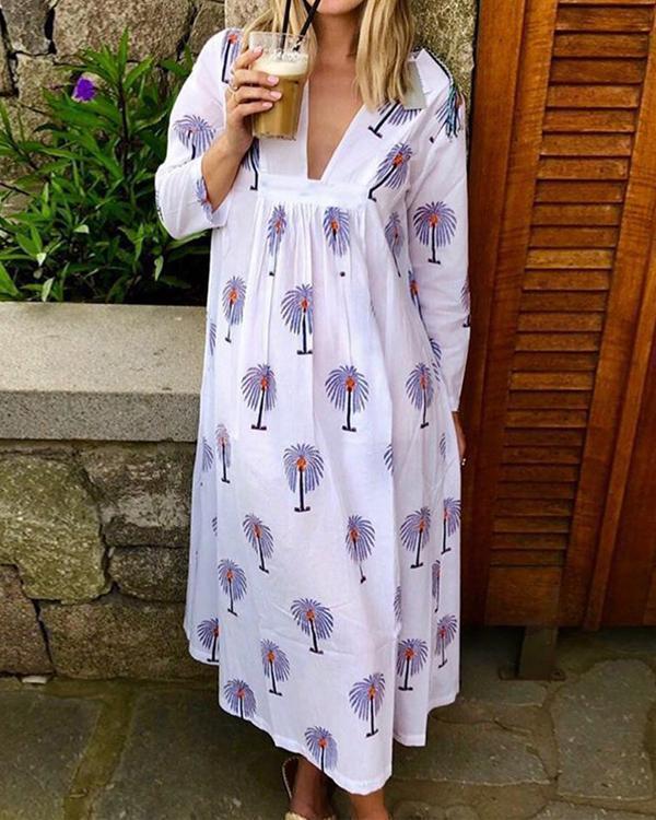 Plus Size Palm Tree Print Women Summer Maxi Dresses