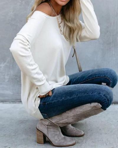 Black Cotton-Blend Long Sleeve Shirts & Tops