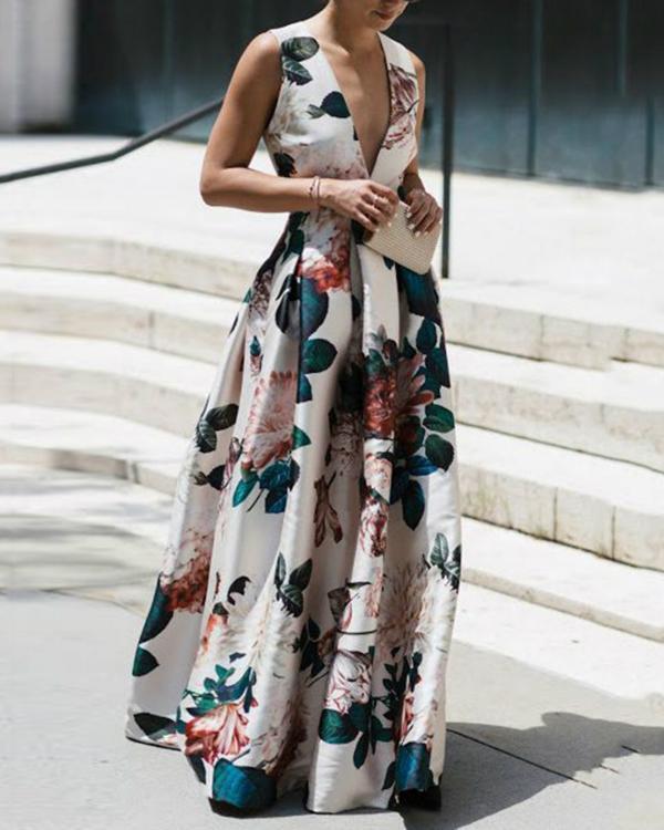 Stylish Floral Print Deep V Sleeveless Maxi Dress